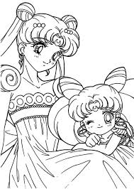 Small Picture The Loving Sailor Moon and Sailor Chibi Moon Coloring Page Color