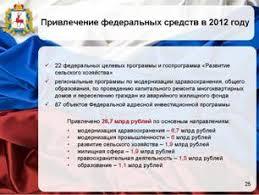 Отчет Губернатора о результатах деятельности Правительства  На реализацию федеральных целевых и государственных программ и 87 объектов ФАИП а также в рамках межбюджетных трансфертов в 2012 году было привлечено 26 7