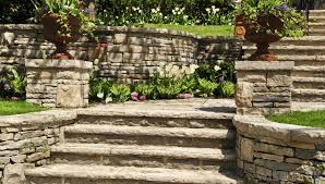 retaining wall with a stair case