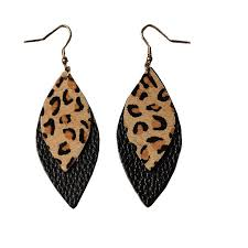 2019 2 layered leaf leather earrings for women trendy marquise statement leopard leather earrings fashion jewelry whole from brands88 1 59 dhgate