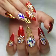 Pointy Nails Designs With Diamonds Red Nails Diamond Nails Red Stiletto Nails Nail
