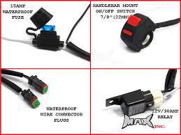 complete universal motorcycle spot fog light wiring kit plug n larger more photos