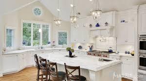 classic white quartzite kitchen countertops
