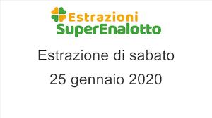 Estrazione del SuperEnalotto di sabato 25 gennaio 2020