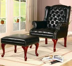 traditional black leather tufted on wingback accent chair with