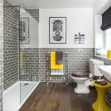 Grey brick tile shower room shower rooms Jamie Mason