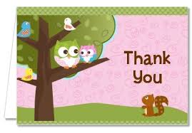 Owl Baby Shower Thank You Cards For GirlsOwl Baby Shower Thank You Cards