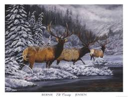 Elk Crossing Fine Art Print by Bernie Jensen at FulcrumGallery.com