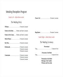 wedding party program templates wedding program templates free sample example format free