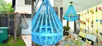 blue beaded chandelier wood beaded chandelier