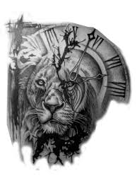 Lion And Clock Tattoo Tiere Pinterest Tatuajes De Relojes