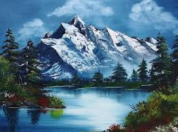 mountains painting take a breath by barbara teller