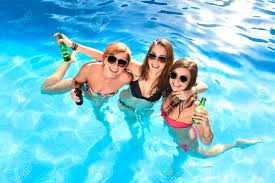 swimming pool with friends. Plain Swimming Group Of Three Young Attractive Happy Girl Friends Having Bath In Swimming  Pool Together Fun In Swimming Pool With Friends S