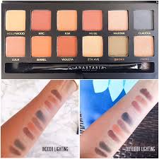 the swatches from top to bottom corresponding to the shades in the palette from left to right are