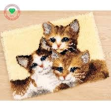cat puzzle rug cartoon cat latch hook rug kits carpet embroidery threads for embroidery yarn for cat puzzle rug