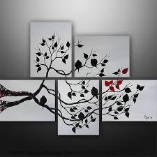 abstract painting love birds tree