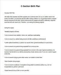 C Section Birth Plan 20 Cesarean Birth Plan Template Simple Template Design