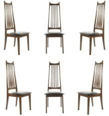 mid century danish modern high back dining chairs in walnut