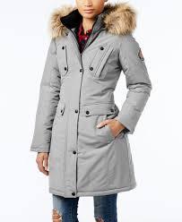 lyst madden girl faux fur trim hooded parka in gray jpg 1947x2378 macy las coats