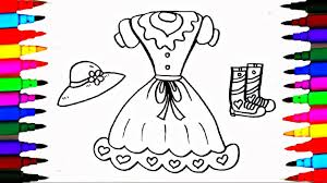 Coloring Pages Girls Dress Boots And Hat L Wardrobe Drawing Pages