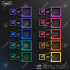 Vector Infographic Design List With Colorful Square On The Black