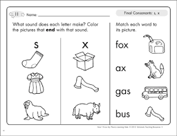 Based on jolly phonics, cartoonito activity sheets are a perfect resource to help support children each sheet provides activities for letter sound learning, letter formation, blending and segmenting. Final Consonants S X Phonics Learning Mats Printable Skills Sheets