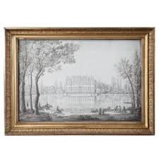 window pencil drawing. pencil drawing of a chateau in landscape. \ window n