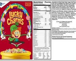 nutrition facts for lucky charms cereal eat by choice all foods inside label