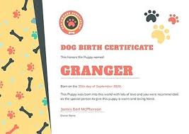 Dog Birth Certificates Free Certificate Template Download In
