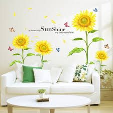 Sunshine Sunflower Butterfly Dancing in Summer Removable Wallpaper