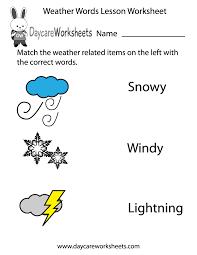 Free Preschool Weather Words Lesson Worksheet
