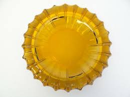details about vintage old used pressed glass sun burst pattern amber color mid century ashtray