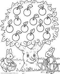 Small Picture Bunnies with an apple tree color page Free printable coloring