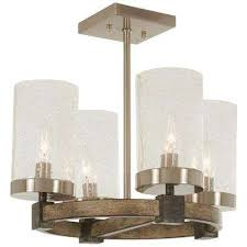 bridlewood 4 light stone grey with brushed nickel semi flush mount with clear seedy