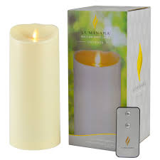 details about luminara outdoor real flame waterproof plastic pillar ivory candle for garden 9