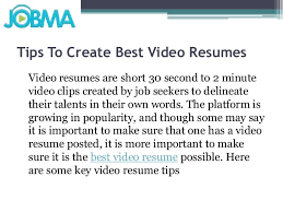 Video Resume Tips Tips To Create Best Video Resumes