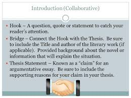 collaborative argumentative essay directions you will write a  introduction collaborative hook – a question quote or statement to catch your readers