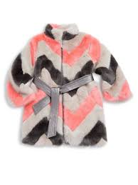 imoga toddler s little girl s girl s zigzag faux fur coat strawberry