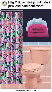blue bathroom tile retro pink bathroom