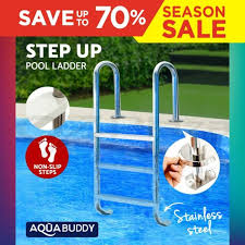 aquabuddy 3 wide swimming pool ladder in ground non slip stainless steel