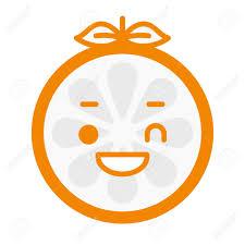 Wink Emoji Winking Smiley Orange Fruit Emoji Vector Flat Design