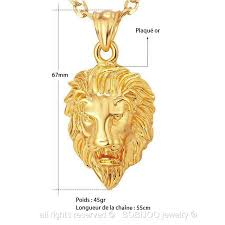 pendant lion head gold plated dimension