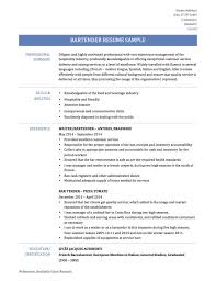 Sample Resume Bartender How To Make A Bar Examples Resumes Job