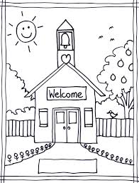 Schoolhouse Printable Coloring Page