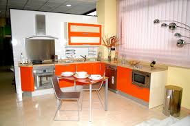 Nice Looking Orange Kitchen Decor With Dining Table And Chairs ...