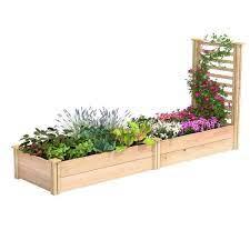 h cedar raised garden bed with trellis