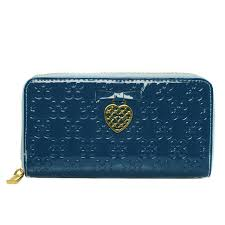 New Coach Waverly Hearts Accordion Zip Large Blue Wallets Dvi Sale UK PHgE3