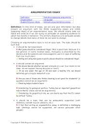 Pros And Cons Topics Of Argumentative Essays Free Sample Short Argumentative Essay Templates At