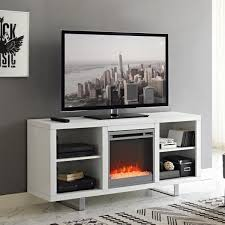58 modern electric fireplace tv stand white
