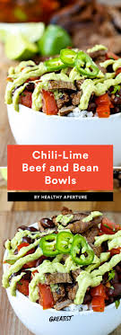 1 chili lime beef and black bean bowls with avocado crema
